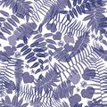 stock image of  Vector blue and white seamless pattern with transparent ferns, leaves and wild flower. Suitable for textile, gift wrap and