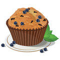 Vector blueberry muffin. Isolated background Royalty Free Stock Photo