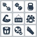 Vector bodybuilding fitness icons set Royalty Free Stock Photography