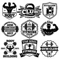 Vector Bodybuilding set of badges, labels with - strong man, barbell, dumbbell, laurel, goblet etc. Royalty Free Stock Photo