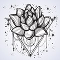 Vector boho style outline trendy illustration isolated. Lotus flower on sacred geometry and a scattering of stars. Tattoo art.