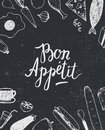 Vector Bon Appetit graphic poster with food illustrations, menu cover, banner Royalty Free Stock Photo