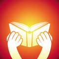 Vector book icon hands holding textbook education concept Royalty Free Stock Photography