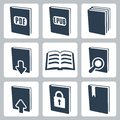 Vector books icons set isolated Stock Photo