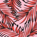 Vector botanical summer pattern in pink red colors. Leaf texture with tropical decoration. Foliage exootic graphic