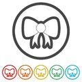 Vector Bow icon, Set of gift bows with ribbons, 6 Colors Included