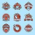 Vector bowling emblem and design element logotype template badge item design for sport league teams success equipment