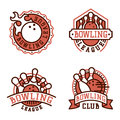 Vector bowling emblem and design element logotype template badge item design for sport league teams success equipment