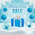 Vector Boxing Day sale banner with gift boxes.