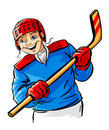 Vector boy character playing hockey sport game Royalty Free Stock Image