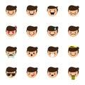 Vector boy emoticons collection. Cute kid emoji set