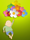 Vector boy holding beautiful spring colorful flowers Royalty Free Stock Image