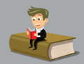 Vector boy reading a book this is file of eps format Royalty Free Stock Photography