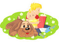 Vector Boy is reading a book to his brother Royalty Free Stock Photo