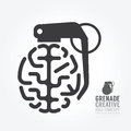 Vector brain distortion from grenade concept engine of idea. Royalty Free Stock Photo