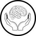 Vector brain in hands icon Royalty Free Stock Photography