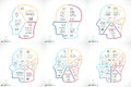Vector brain linear infographic. Template for human head diagram, artificial intelligence graph, neural network