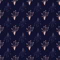 Vector branches and leaves seamless pattern repeat on dark blue background