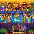 Vector brazil carnival rio festival celebration brazilian girls dancers samba party carnaval traditional costume south