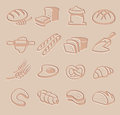 Vector bread icon set Royalty Free Stock Images