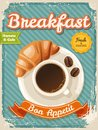 Vector coffee breakfast poster in vintage style with typography elements Royalty Free Stock Photo