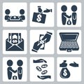Vector bribe bargain icons set Royalty Free Stock Photo