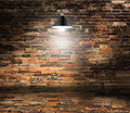 Vector brick wall room and ceiling lamp grunge retro vintage interior background Stock Photography