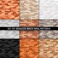 Vector brick wall seamless pattern set. Flat wall textures collection. Yellow, gray, red, white, black textured brick background Royalty Free Stock Photo