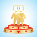 Vector bride and groom standing on a golden stage.
