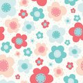 Vector Bright Colorful Flowers Pink Blue White Seamless Pattern Royalty Free Stock Photo