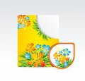 Vector bright folder and sticker with flowers Stock Image