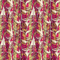 Vector bright red feathers seamless pattern