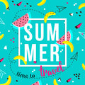 Vector of bright summer cards. Beautiful summer posters with watermelon, bananas and text. Time to travel. Memphis