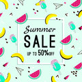Vector of bright summer cards. Beautiful summer posters with watermelon, ice cream, bananas and text. Memphis. Journal