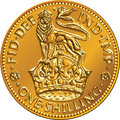 Vector british money gold coin shilling with lion one the image of a heraldic and crown isolated on white background Royalty Free Stock Image