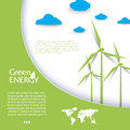 Vector brochure design with wind turbines green energy concept modern template Royalty Free Stock Photos