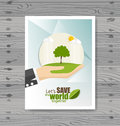 Vector Brochure Flyer design Layout template. Ecology background Royalty Free Stock Photo