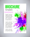 Vector brochure and flyer, poster template with abstract paint green, violet watercolor splashes, drops on paper or canvas Royalty Free Stock Photo