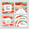 Vector brochure template design with blue and orange elements.