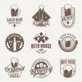 Vector brown beer logo, icons and design elements