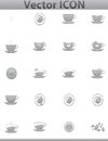 Vector brown coffee icons set cup cafe icon file eps format Royalty Free Stock Photo
