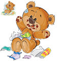 Vector brown teddy bear sweet tooth ate a lot of candy and now sits smeared in chocolate Royalty Free Stock Photo