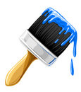 Vector brush with blue paint isolated Stock Photo