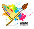 Vector brush on color background Stock Photo