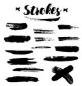 Vector brush paint strokes. Abstract black textured strokes isolated on white background. Royalty Free Stock Photo