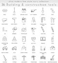 Vector Building Construction ultra modern outline line icons for web and apps. Royalty Free Stock Photo