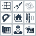 Vector building design icons set layout pair of compasses and protractor pencil ruler and eraser blueprint designer drawing board Royalty Free Stock Photography
