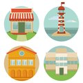 Vector building icons round emblems with illustrations in flat retro style Stock Photography