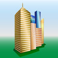 Vector buildings cityscape group of objects golden yellow and blue high skyscrapers green grass with blue sky at background Stock Photography