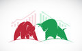 Vector of bull and bear symbols of stock market trends. Royalty Free Stock Photo